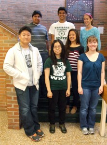 (L TO R) SAMUEL YUN, ISHAAN BAKHLE, WAN KWOK, AAKASH SHAH, NORA LEE, ELIZABETH KOBE AND ELIZABETH GOLDBERG ARE WESTLAKE'S NATIONAL MERIT FINALISTS