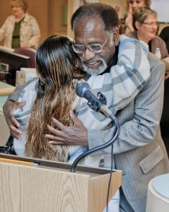 Tyesha Gonzalez greets Dr. Alexander Boye-Doe at Monday's Miracle Reception at Mercy.
