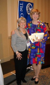 "Garden Club of Ohio President Aggie Goss presenting Avon-on-the-Lake Garden Club President Audrey Roberts , ""Garden Club for the Year 2012"" Award"
