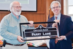 A new street sign at Crocker Park will ensure Bob Parry's legacy.
