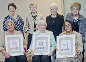 Pam Belskis, Marilyn Chavalia, and Peggy Battle with (back row) previous Ruth Calta Community Service Award winners JoAnn Childress (the one without the glasses),  Nancy Gray, Jane Baran and  Marge Dziama.