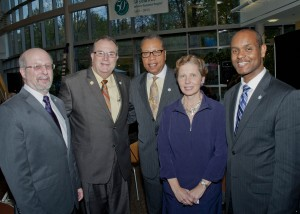 Cuyahoga Community College Westshore Campus in Westlake brought together school and community leaders last week as part of Tri-C's 50th anniversary celebration. Tri-C President Dr. Alex Johnson (center) welcomed all four campus leaders to the event: (from left) Dr. Ron Liss of the Western Campus, Dr. J. Michael Thomson, now head of the Eastern Campus in Highland Hts., Dr. Terri Pope, newly named Interim President Westshore Campus, and Dr, Michael Schoop, President Metropolitan Campus.