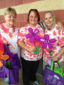 Pattie Myers, Amy Zauner, and Alexis Wallace from Rockport Elder Daycare get ready to Walk!   Rockport was the Rookie-of-the-Year Top Fundraising team.