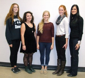 Pictured are (left to right) Kelsea Patterson, Maria Kuhn, Anna Boor, Kylie Hulver and art teacher Kelly Atkinson