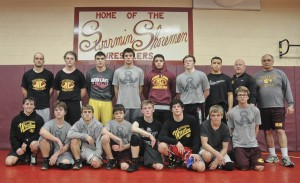 The Avon Lake High wrestling team: (bottom from left) Coach Drew Dickson, Josh Sinclair, Chris Chakirelis, Mike Petterson, Nick Mayer, Joey Bernosky, Zack  Klima, Luke Schrieber, (top from left) Coach Kevin Atkins, Coach Marcus Effner, Jordan Akers, Jason Barnicle, Ben George, Sandy Bishop, Tristen Olivencia, Head Coach Nick Mayer, Coach Ken Weaver.