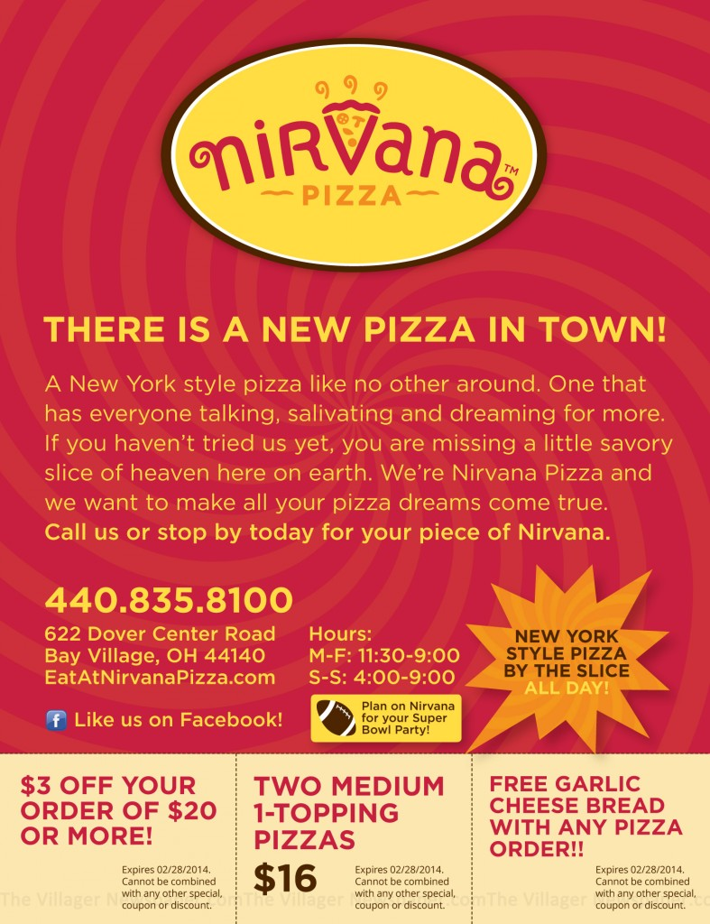 Nirvana Pizza Coupons Ad