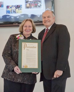 Mayor Dennis Clough honored retiring Westlake Community Services Director Joyce Able Schroth with a city proclamation at retirement ceremonies held in her honor two weeks ago.