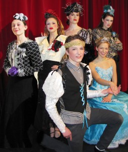 Cinderella cast members Katie Randazzo (stepmother), Maisie Kuh (stepsister), Jessica Cusimano (Fairy Godmother), Kerry O'Brien (stepsister); Kaitie Foley (Cinderella), and Peter Kotowski (Christopher, the handsome prince)