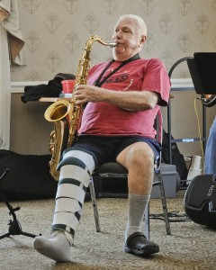 A knee replacement was no match for a little toe-tapping as noted Sax player Al Fuller brought a back beat to rehab at Bradley Bay Health Center.