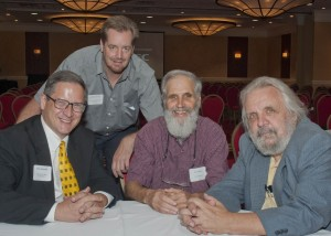 Peter Schindler, Senior Program Officer, Community West Foundation with Michael Sering, Vice President, Housing & Shelter of Lutheran Metropolotin Ministry, Jim Schlecht, Care Alliance and Tim Walters, Executive Director, The Metanoia Project.