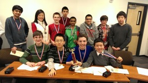 (seated, left to right) Ryan Karpuszka, Kyle Yu, Matthew Vulku,  Patrick Lee, (standing, left to right) Lalit Kulshreshtha, Miranda Li, Kyle Kinney, Kayvon Sharifi,  Akhilesh Reddy, Ameen Zayed, Matthew Wollenhorst and Albert Zhou.