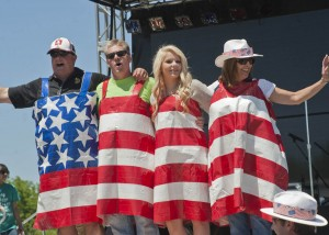 """John Kahl, Randy Lear, Lisa Vulpitta and Marina Kahl, all """"Ducked"""" out in the Red, White and Blue!"""