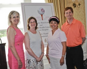 Sue Dunson, Vice President Oncology Services, Fairview Hospital, Dr. Debra Pratt, Medical Director of the Breast Center at Fairview Hospital, guest speaker Amanda McGraw and Dr. Neil Smith, President, Fairview Hospital