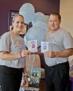 Kevin Flynn, Partner Westlake & Avon Massage Envy, and Laura Burden welcomed clients to the 'Healing Hands for Arthritis' fundraiser Sept. 17.