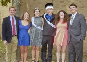 Bay High's 2014 Homecoming Court, left-to-right:  Noah Hitchcock, Allison Finley, Katherine Koomar (Queen), Christopher Allison (King), Lea Flanagan and Arif Caushaj.