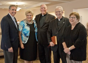 Jim Busch, the Rev. Nancy Manner of Lakeshore United Methodist Church, Fr. Ron Wearsch, St. Joseph, Fr. James Beatty, Holy Spirit, and Pat Kassay Pastoral care Holy Spirit Catholic Church blessed the new Busch facility.