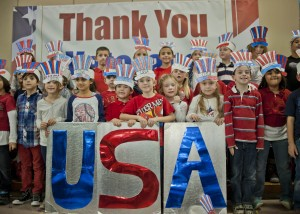 """First graders at Holly Lane School in Westlake said, """"Thank You, Veterans!"""""""