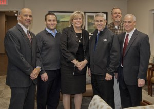 St. John Medical Center President William A. Young, Jr., with Rocky River City Council members Brian Sindelar, Mayor Pam Bobst, Jim Moran, David Furry and Dr. Michael Adornetto, President Westshore Primary Care.