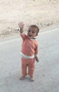 An innocent goodbye from a displaced Syrian child in Alzaatary to the team.