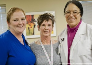 Cancer survivors Maureen Traine, RN, Trauma Program Manager and Candius Rapson, Radiology Service Representative, Breast Health Center, with Sr. Kendra Bottoms, SJMC Missions and Ministry.