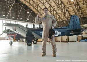 Research pilot Jim Demers welcomes visitors to the giant hangar at the John H. Glenn Research Center.