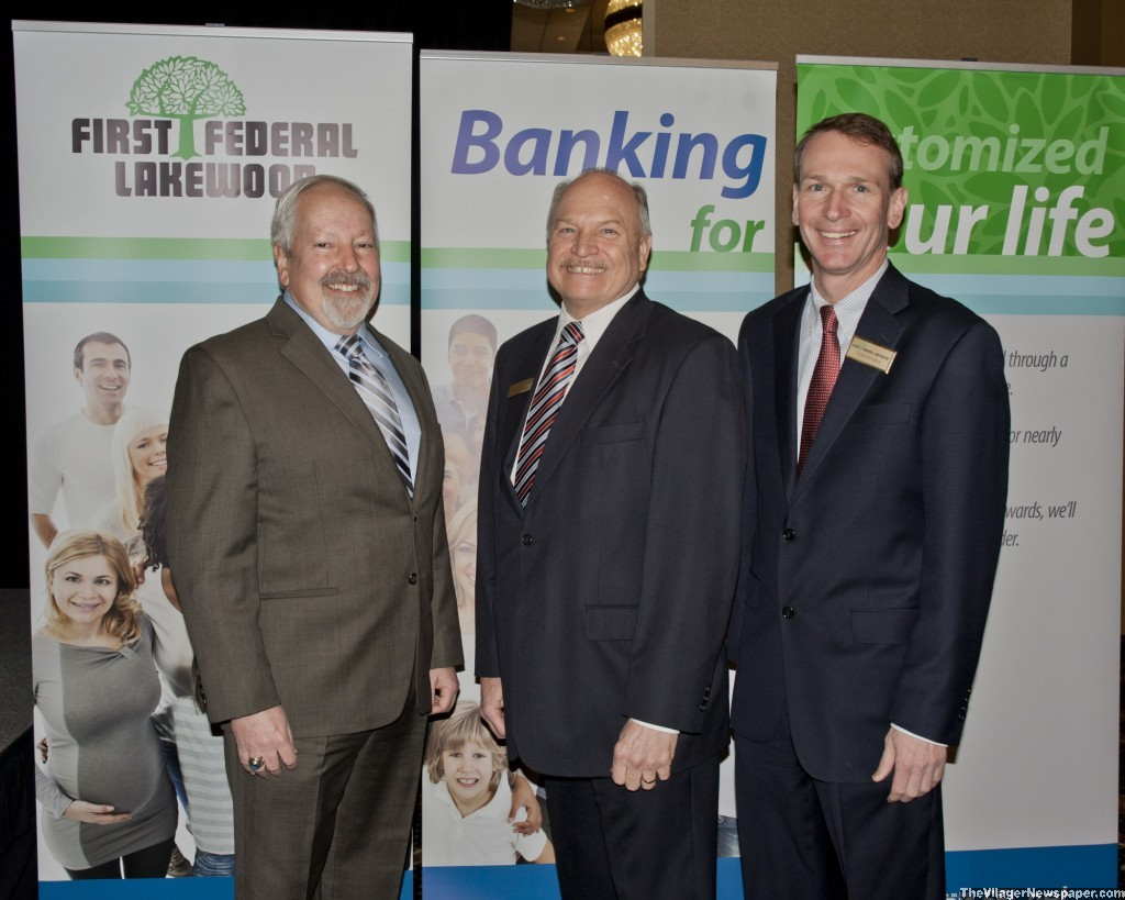 John Sobolewski , West Shore Chamber of Commerce, Westlake Mayor Dennis Clough, and Tom Fraser, CEO First Federal Lakewood.