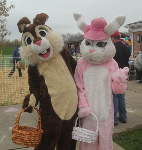 Mr and Mrs Easter Bunny welcome all to the 2015 Easter Egg  Hunt. (Photo by Al Psota)