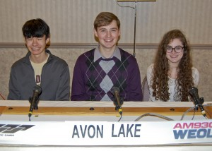 The Avon Lake High School academic team, left to right, Alex Loar, Zack Brady, and Sophie Shabab, was heard on the Mar. 23rd broadcast of the High School Scholastic Games quiz program on WEOL (AM 930).