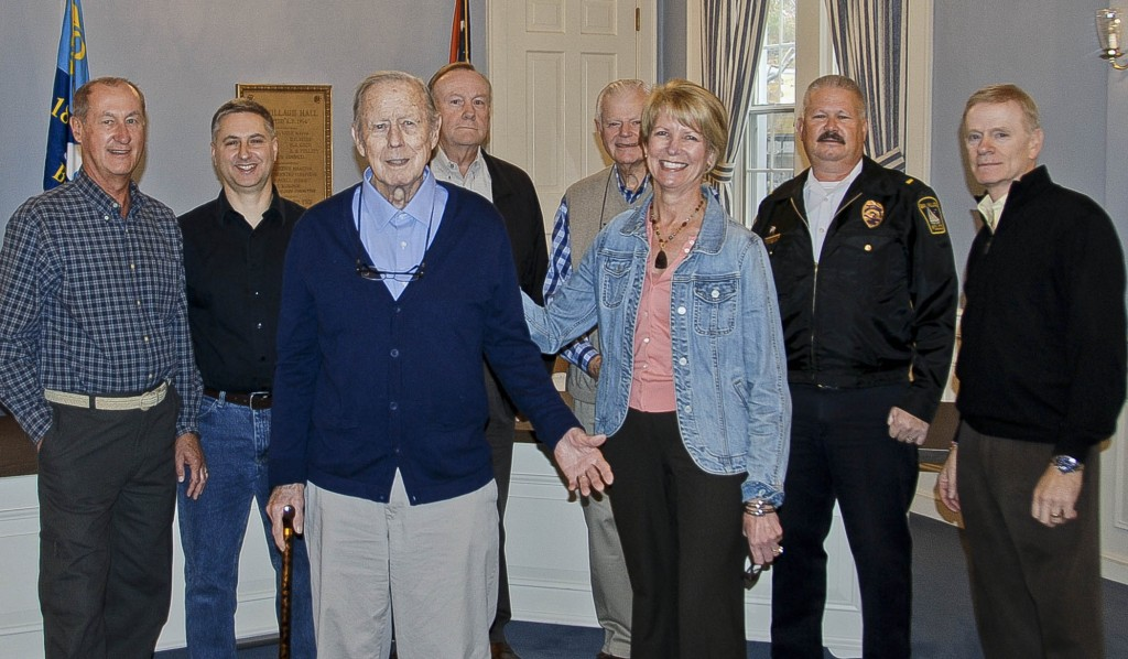 Former Bay Village Chief of Police Fred Drenkhan was honored by Mayor Debbie Sutherland and other city officials on the occasion of his 87th birthday last year. Mr. Drenkhan died April 15.