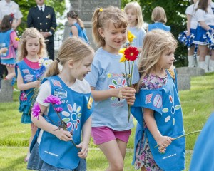 Part of Bay Village's annual Memorial Day ceremony is the decoration of gravestones at historic Lakeside Cemetery. Daisy Scouts honored this tradition once again as part of the community's Memorial Day observances.