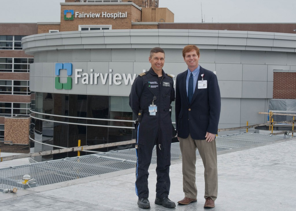 Pilot Richard Sandoval and Fairview Hospital President Dr. Neil P. Smith atop the hospital's new helipad