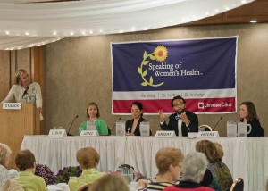 Dr. Rebecca Starck with panelists Lisa Cloud, MD, specialist in Preventive Medicine and Women's Health; Christine Lopez, MD, Vice Chair Dermatology; Jason Knight, MD, gynecologic oncologist; Erica Peters, MD, surgeon.