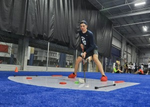 Projected first round NHL draft choice Tim Gettinger trains on a synthetic ice slide board at T3 Performance in Avon. Gettinger is a North Olmsted native who has starred for the Cleveland Barons and the Soo Greyhouncs of Sault St. Marie, Canada.