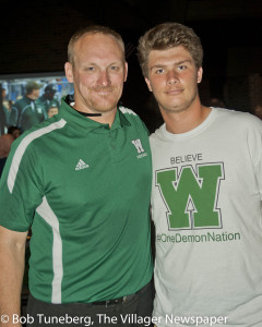 New Westlake head coach Jason Hall with senior Logan Fisher.