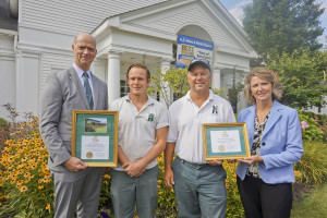 John Griffiths, owner /administrator Rae Ann Suburban, Mike Crow, Assistant grounds keeper, Sam Harris, Landscape Horticulturist for Rae Ann and Sue Griffiths, owner/administrator Rae Ann Westlake. Rae-Ann Suburban and Rae-Ann Westlake won first and second place this year in the Aparment or Condominium Complex/Nursing Home/Assisted Living/Independent Living category.