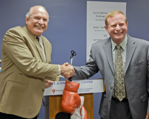 Westlake Mayor Dennis Clough and North Olmsted Mayor Kevin Kennedy were good sports and didn't need the boxing gloves.