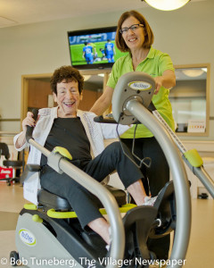 Ellen Straub, PT, with star rehab patient Marge Gerard.