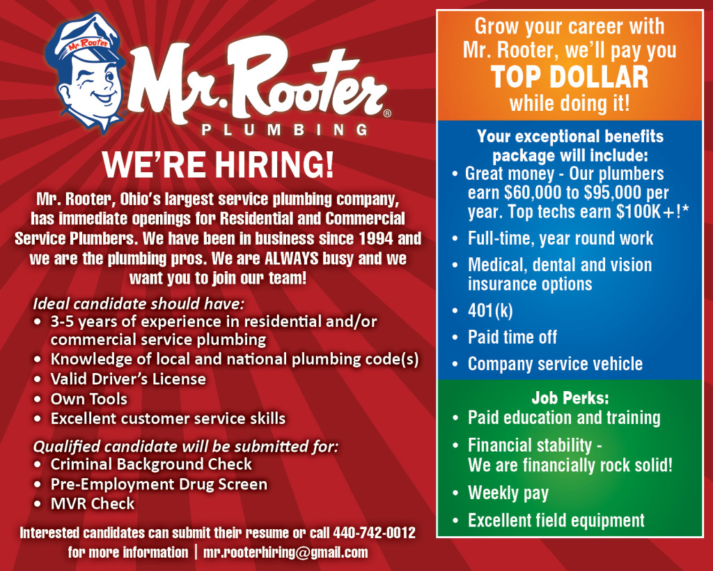 10-1-15 Mr Rooter Hiring