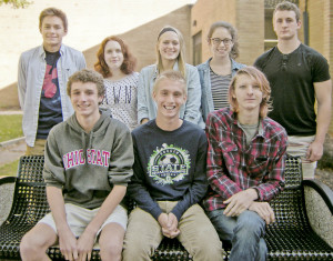 Bay High's National Merit Scholars are, from left: (front row) Steven Farnham, Evan O'Donnell, Harrison Teutschbein; (back row) Joseph Auckley, Emma Chalk, Alana Bernys (semi-finalist), Hannah Downing and Luke Andrassy.