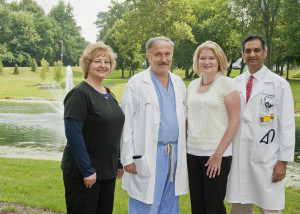 Amanda Van Schoor (third from left) with Dana Ingraham of Abiomed, cardiologist Naim Farhat, MD, and cardiologist Atul Hulyalkar, MD.