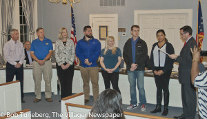 Bay City Councilman Tom Henderson (right) recognized the community partners who are making new exercise equipment stations possible in Cahoon Park at last week's City Council meeting.
