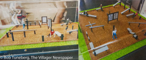 Artist rendering of exercise station examples.