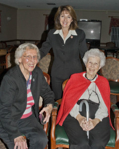 State Rep. Nan Baker with residents of The Normandy Apts. Barbara Ebright and Ruth Thurber.