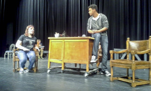 "Avon High School students Kitty Mader and Udell Holmes rehearse a scene from 'Harvey"" at Avon High School. Photo credit: Avon Local Schools"