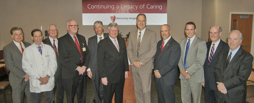 Richard A. Hanson, President, UH Community Hospitals and Ambulatory Network; Robert Stern, MD, SJMC Medical Staff President; Donald S. Sheldon, MD, President, UH Community Hospitals, Western Region; Steven D. Standley, CAO, UH; Michael J. Dobrovich, DO, Chief Medical Officer, University Hospitals SJMC; Bob Smith, Chairperson, University Hospitals SJMC Board; Thomas F. Zenty III, CEO, University Hospitals; William A. Young, President & CEO, University Hospitals SJMC; Thomas D. Snowberger, Chief Human Resource Officer, UH; Paul G. Tait, Chief Strategic Planning Officer, UH; Jeffrey H. Peters, MD, COO, University Hospitals