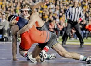 Iowa's Alex Meyer, Grapple on the Gridiron. (Darren Miller/hawkeyesports.com)