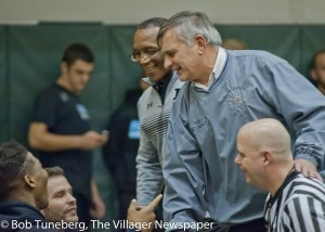 Ray Anthony (second from right) visits with coaches and fellow officials at the 2015 Medina Invitational Tournament.