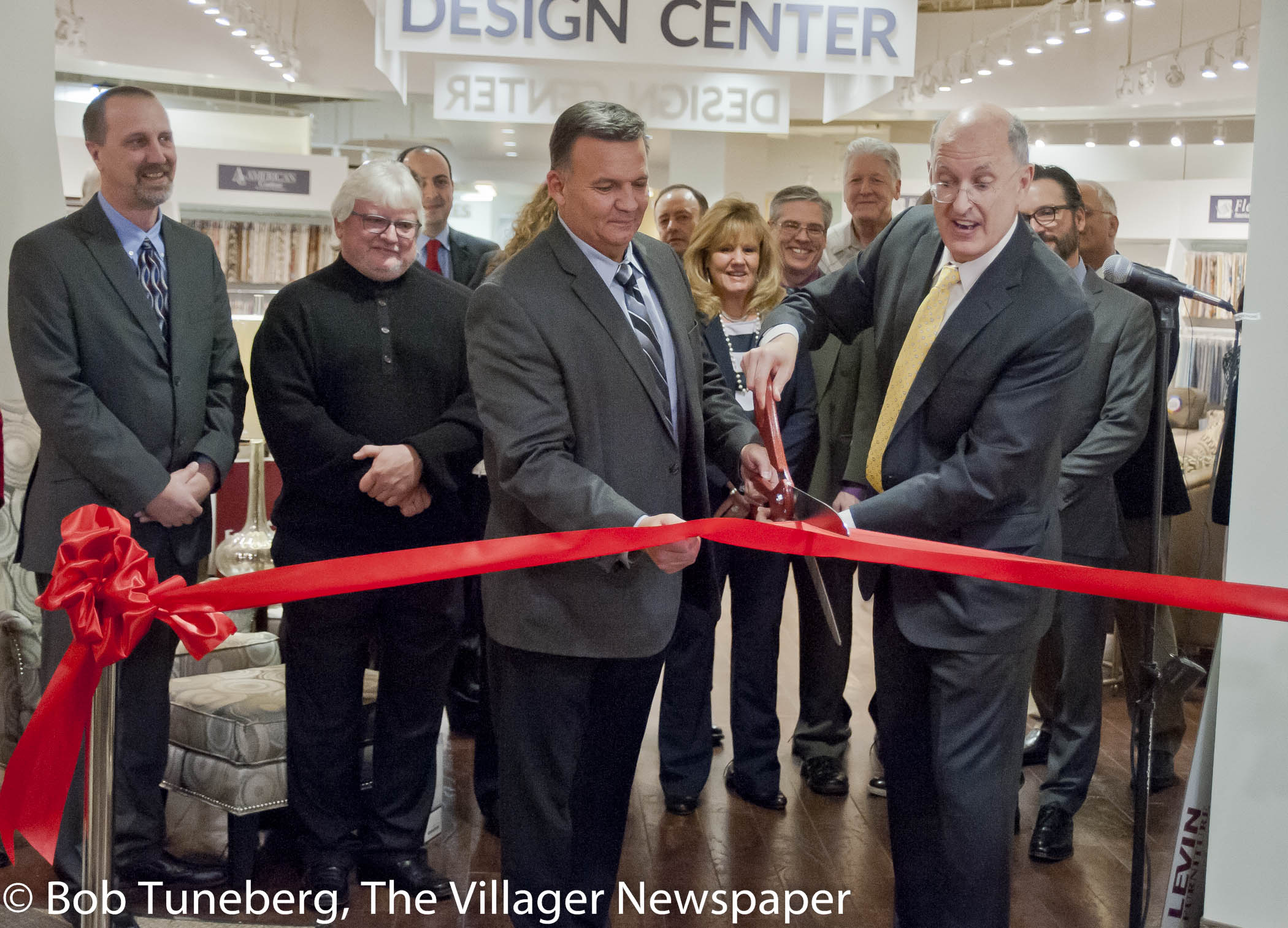 Avon Mayor Bryan Jensen Joins With Robert Levin In Celebrating The Opening  Of The New Avon Levin Furniture.