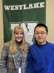 WHS gifted specialist Anne Dill and Westlake High School sophomore Kyle Yu.