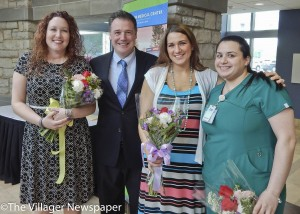 Nurse of the Year Award for Clinical Excellence winner, Helen Ramsey (CCU), UH SJMC Interim CNO Kevin Smith, Department of Nursing Angel Award winner, Jaclyn Marvin (3N) and Award for Outstanding Clinical Support winner, Alla Mohammad (3N).